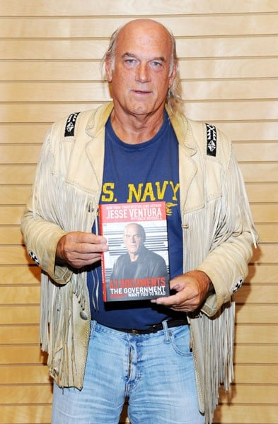 Former pro wrestler and former Minnesota Governor Jesse Ventura poses before signing copies of his book '63 Documents The Government Doesn't Want You To Read' at Barnes & Noble 3rd Street Promenade on April 11, 2011 in Santa Monica, California.
