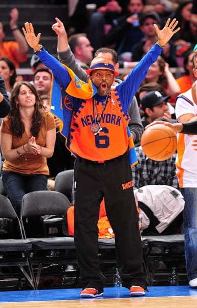 Tracy Morgan, Mayor Michael Bloomberg, Spike Lee and Thierry Henry attend the Boston Celtics vs New York Knicks playoff game 3 at Madison Square Garden on April 22, 2011 in New York City.