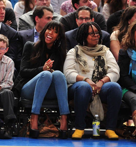 Kelly Rowland and Whoopi Goldberg attend the Chicago Bulls vs New York Knicks game at Madison Square Garden on April 12, 2011 in New York City.