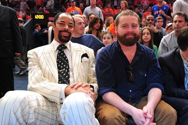 Walt 'Clyde' Frazier and Zach Galifianakis attend the Boston Celtics vs New York Knicks playoff game 4 at Madison Square Garden on April 24, 2011 in New York City.