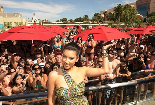 Kim Kardashian attends Wet Republic grand opening party hosted by Hawaiian Tropic at Wet Republic At MGM Grand on April 16, 2011 in Las Vegas, Nevada.