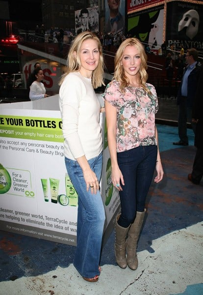 Kelly Rutherford and Katie Cassidy attend the Garnier Cleaner Greener tour launch at Times Square on April 11, 2011 in New York City.