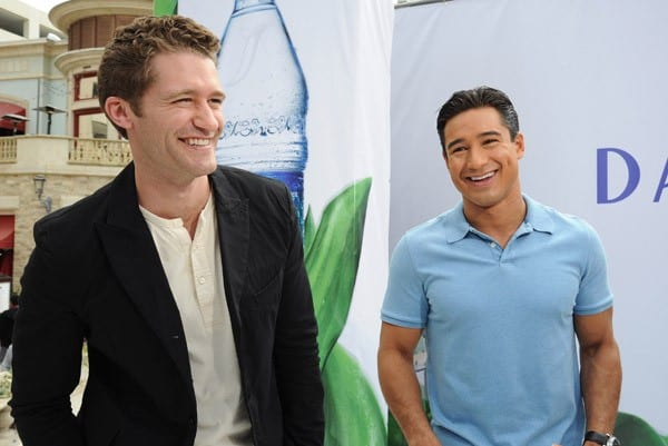 Matthew Morrison and Mario Lopez attend the DASANI fashion show where models show off the hand-crafted DASANI plant dresses created by designer Yotam Solomon at The Grove on April 22, 2011 in Los Angeles, California.