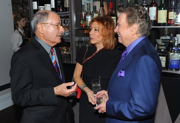 Author Peter Bart, Regis Philbin and Joy Philbin attend the book launch for Peter Bart's 'Infamous Players' hosted by The Weinstein Company at Desmond's on April 25, 2011 in New York City.
