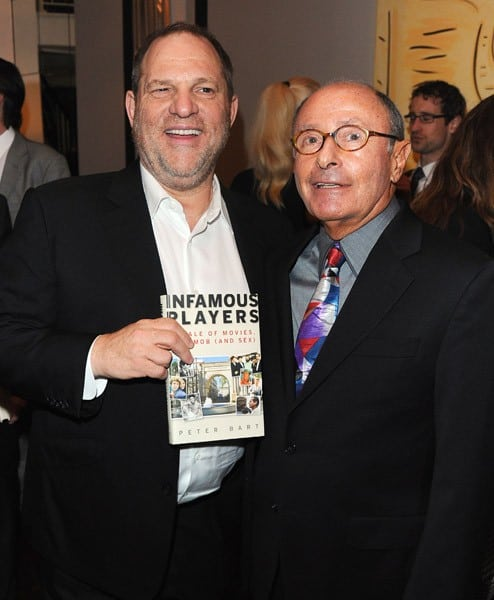 Author Peter Bart and Harvey Weinstein attend the book launch for Peter Bart's 'Infamous Players' hosted by The Weinstein Company at Desmond's on April 25, 2011 in New York City.