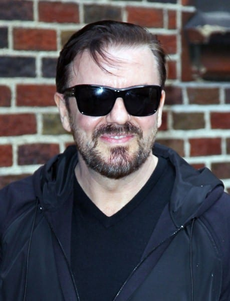 Actor/Comedian Ricky Gervais arrives at 'Late Show With David Letterman' at the Ed Sullivan Theater on April 12, 2011 in New York City.