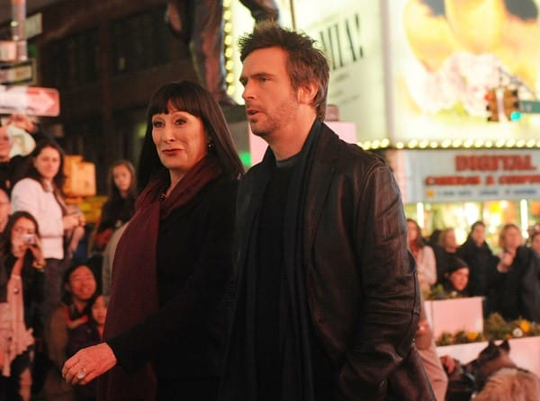 Anjelica Huston and Jack Davenport filming on location for 'Smash' on the streets of Manhattan on April 4, 2011 in New York City.