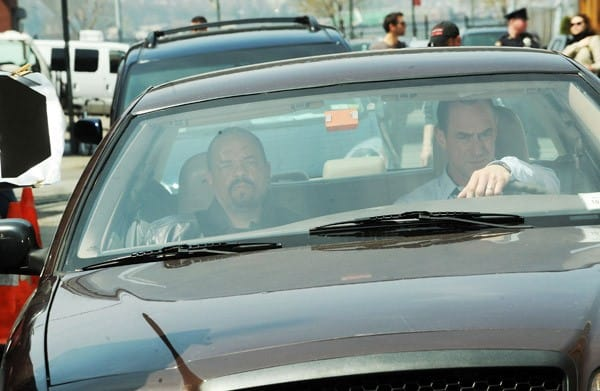 Ice-T and Christopher Meloni filming on location for 'Law & Order SVU' on the streets of Manhattan on April 11, 2011 in New York City.
