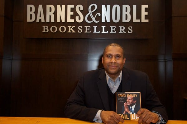Tavis Smiley holds his new book 'FAIL UP' at a book signing at Barnes & Noble bookstore at The Grove on April 21, 2011 in Los Angeles, California.