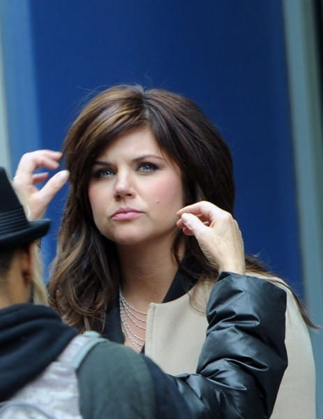 Tiffani Thiessen filming on location for 'White Collar' on the streets of Manhattan on April 15, 2011 in New York City.