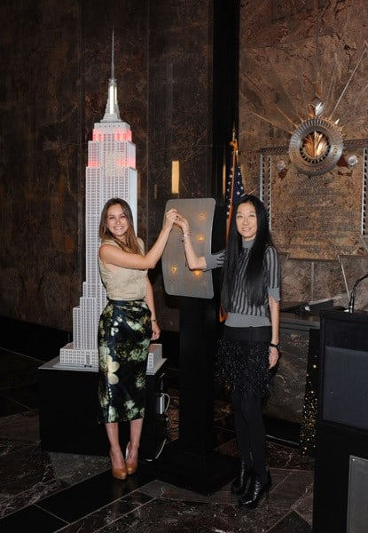 Actress Leighton Meester and designer Vera Wang visit The Empire State Building on April 28, 2011 in New York City.