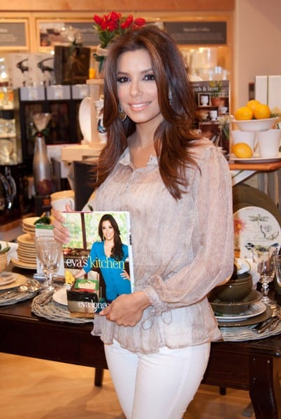 Actress Eva Longoria greets fans and signs copies of 'Eva's Kitchen: Cooking With Love for Family and Friends' at Williams-Sonoma on May 1, 2011 in Miami, Florida.