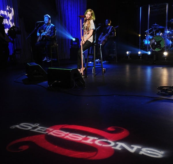 Singer Avril Lavigne performs for AOL Music's 'Sessions' at AOL Studios on May 24, 2011 in Beverly Hills, California.