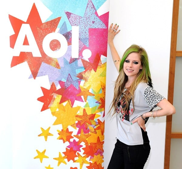 Singer Avril Lavigne poses before performing for AOL Music's 'Sessions' at AOL Studios on May 24, 2011 in Beverly Hills, California.