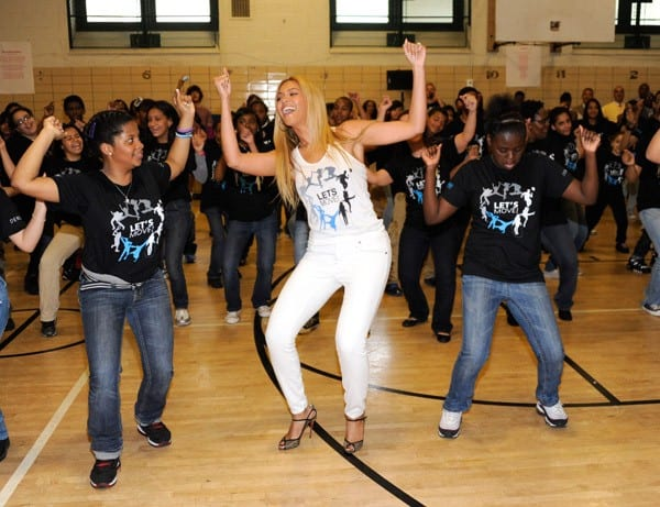 Beyonce surprises students at PS/MS 161 in Harlem as part of First Lady Michelle Obama's 'Let's Move' initiative to fight childhood obesity on May 3, 2011 in New York City.
