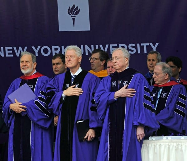 President Bill Clinton attends the 2011 New York University commencement at Yankee Stadium on May 18, 2011 in New York City.