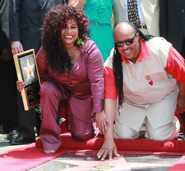 Recording artists Stevie Wonder and Chaka Khan attend the ceremony honoring Khan with a Star on the Hollywood Walk of Fame on May 19, 2011 in Hollywood, California.