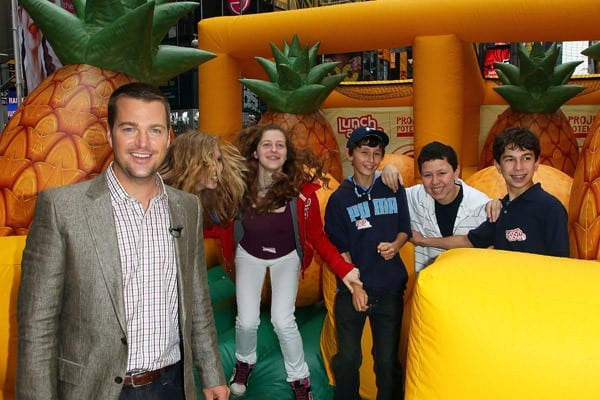 Actor Chris O'Donnell attends the Feeding America fruit donation at Military Island, Times Square on May 17, 2011 in New York City.