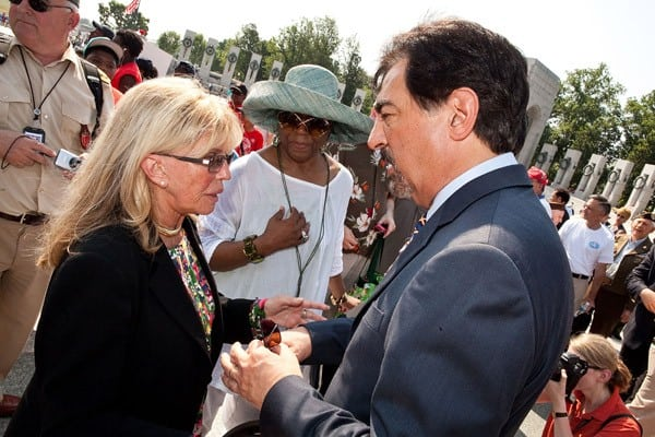 Joe Mantegna and Nancy Sinatra attend the Honoring Our Fallen Warriors Wreath-Laying ceremony at the National World War II Memorial, National Mall on May 30, 2011 in Washington, DC.