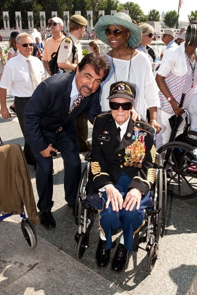 Joe Mantegna participates in the Honoring Our Fallen Warriors Wreath-Laying ceremony at the National World War II Memorial, National Mall on May 30, 2011 in Washington, DC.