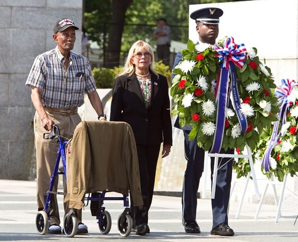 Nancy Sinatra participates in the Honoring Our Fallen Warriors Wreath-Laying ceremony at the National World War II Memorial, National Mall on May 30, 2011 in Washington, DC.