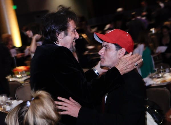 Al Pacino and Charlie Sheen attend the Juvenile Diabetes Research Foundation's 8th Annual Gala 'Finding a Cure: A Love Story' at The Beverly Hilton hotel on May 5, 2011 in Beverly Hills, California.