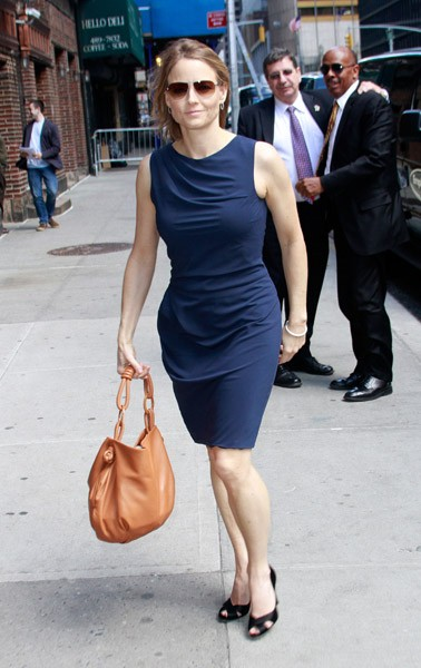 Actress Jodie Foster is seen arriving at the 'Late Show With David Letterman' at the Ed Sullivan Theater on May 5, 2011 in New York City.
