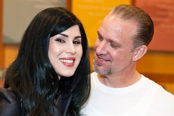 Television personality/tattoo artist Kat Von D and CEO of West Coast Choppers Jesse James attend Jesse James' 'American Outlaw' book signing at Barnes & Noble on May 12, 2011 in Long Beach, California.