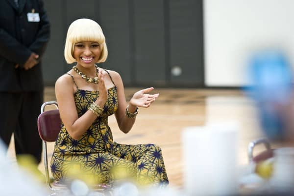 Nicki Minaj attends The Get Schooled Foundation event where she surprised students at Collins Academy High School on May 19, 2011 in Chicago, Illinois.