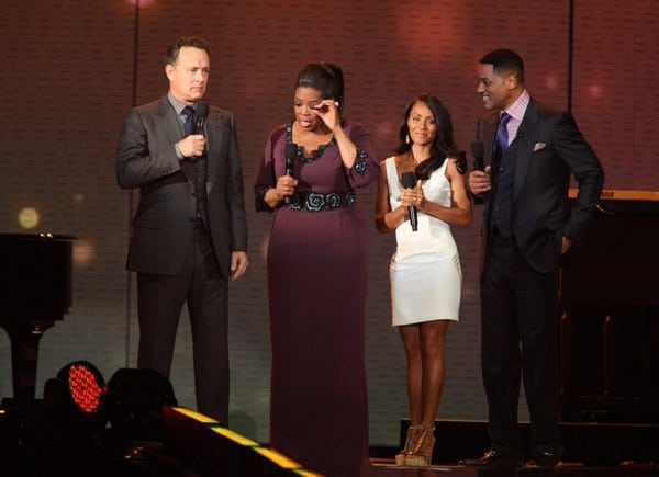 Tom Hanks, Oprah Winfrey, Jada Pinkett Smith and Will Smith on stage at 'Surprise Oprah! A Farewell Spectacular' at the United Center on May 17, 2011 in Chicago, Illinois.