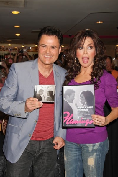 Donny Osmond & Marie Osmond at the 'Donny & Marie' Album Release Party at the Flamingo Las Vegas on June 21, 2011 in Las Vegas, Nevada.