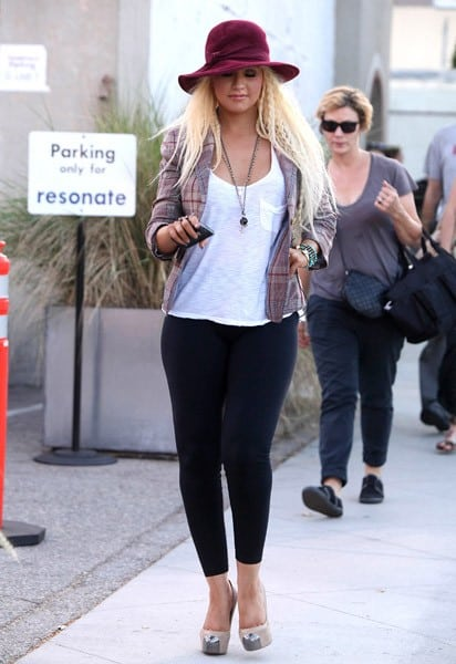Christina Aguilera is seen at a recording studio on June 23, 2011 in Los Angeles, California.