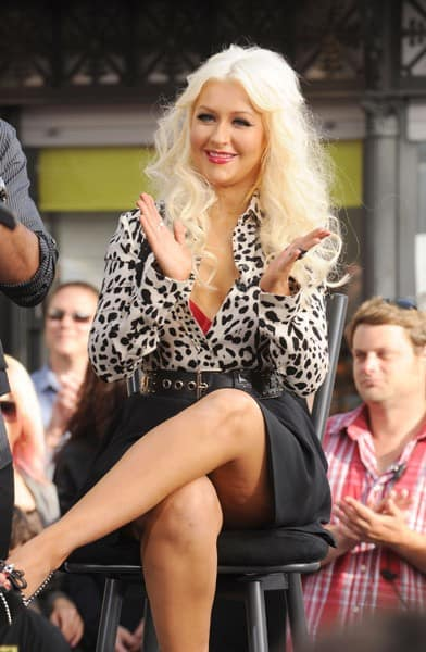 Christina Aguilera and Mario Lopez attend NBC's 'The Voice' event at The Grove on June 3, 2011 in Los Angeles, California.