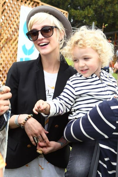 Ashlee Simpson-Wentz and son Bronx Wentz at the 77kids By American Eagle 'Surfin' Safari' at A Time For Heroes Celebrity Carnival held at The Wadsworth Great Lawn on June 12, 2011 in Los Angeles, California.