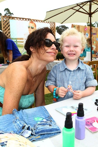 Minnie Driver and son Henry at the 77kids By American Eagle 'Surfin' Safari' at A Time For Heroes Celebrity Carnival held at The Wadsworth Great Lawn on June 12, 2011 in Los Angeles, California.