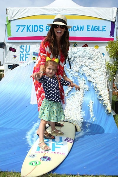 Ali Landry and daughter at the 77kids By American Eagle 'Surfin' Safari' at A Time For Heroes Celebrity Carnival held at The Wadsworth Great Lawn on June 12, 2011 in Los Angeles, California.