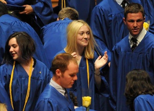 Actress Dakota Fanning attends her high school graduation ceremony at Walt Disney Concert Hall on June 6, 2011 in Los Angeles, California.