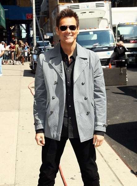 Actor Jim Carrey arrives at 'Late Show With David Letterman' at the Ed Sullivan Theater on June 15, 2011 in New York City.