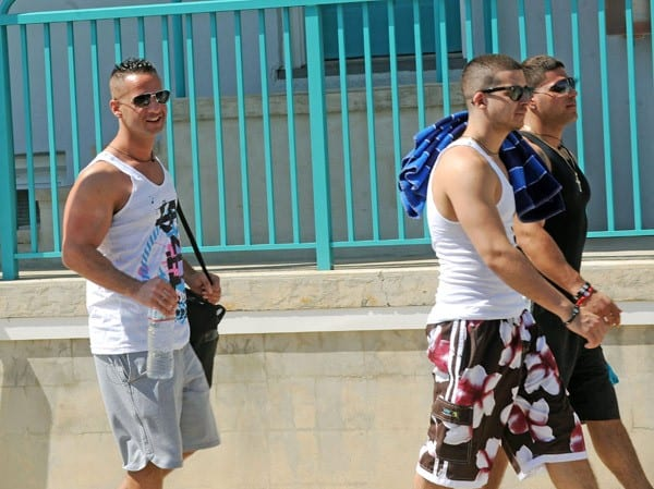 Michael 'The Situation' Sorrentino, Ronnie Ortiz-Magro and Vinny Guadagnino filming on location for 'Jersey Shore' at Seaside Heights on June 29, 2011 in Seaside Heights, New Jersey.
