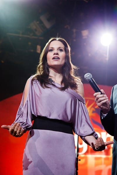 Kara DioGuardi helps find the next voice Of The Folgers Jingle at ABC News' Good Morning America Times Square Studio on June 16, 2011 in New York City.