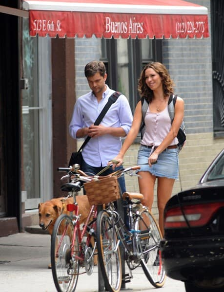 Joshua Jackson and Rebecca Hall filming on location for 'Lay The Favorite' on the streets of Manhattan on June 12, 2011 in New York City.