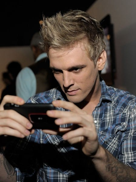 Aaron Carter attends the launch of the EVO 3D presented by Radio Shack and HTC at the RadioShack Pop-Up 3D Lounge on June 23, 2011 in West Hollywood, California.