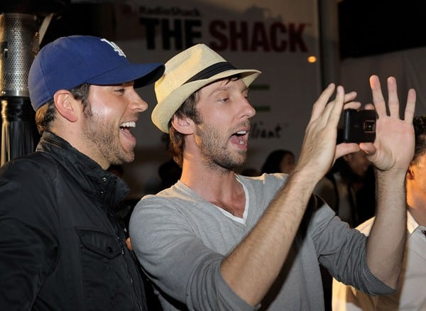 Actors Zachary Levi and Joel David Moore attend the launch of the EVO 3D presented by Radio Shack and HTC at the RadioShack Pop-Up 3D Lounge on June 23, 2011 in West Hollywood, California.