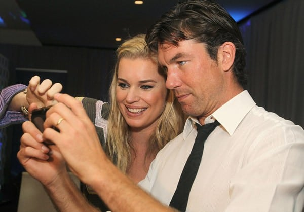 Rebecca Romijn and Jerry O'Connell preview PlayStation Vita at the Sony PlayStation Exclusive Preview Suite at E3 at JW Marriott on June 9, 2011 in Los Angeles, California.