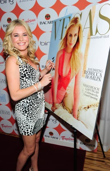 Actress Rebecca Romijn and actor Jerry O'Connell attend the VEGAS magazine 8th anniversary at Club Nikki inside the Tropicana presented by Bing on June 25, 2011 in Las Vegas, Nevada.