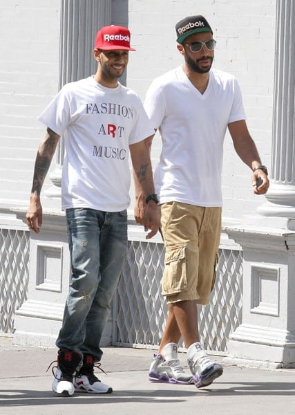 Swizz Beatz and Thierry Henry are seen walking in SoHo on June 7, 2011 in New York City.