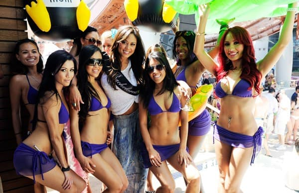 Actress Vanessa Minnillo attends her bachelorette party at the Marquee Dayclub at The Cosmopolitan of Las Vegas on June 18, 2011 in Las Vegas, Nevada.