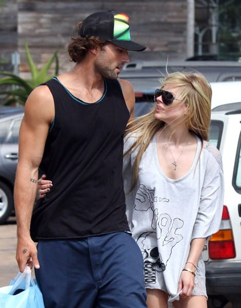 Avril Lavigne and Brody Jenner are seen leaving Coffee Bean in Malibu on July 14, 2011 in Los Angeles, California.