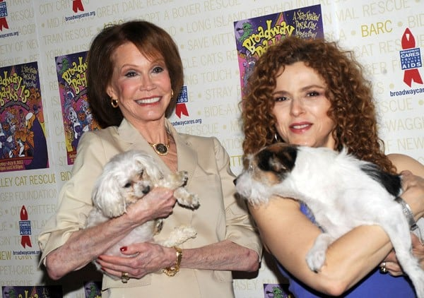 Mary Tyler Moore and Bernadette Peters attend the 13th annual Broadway Barks! in Shubert Alley on July 9, 2011 in New York City.