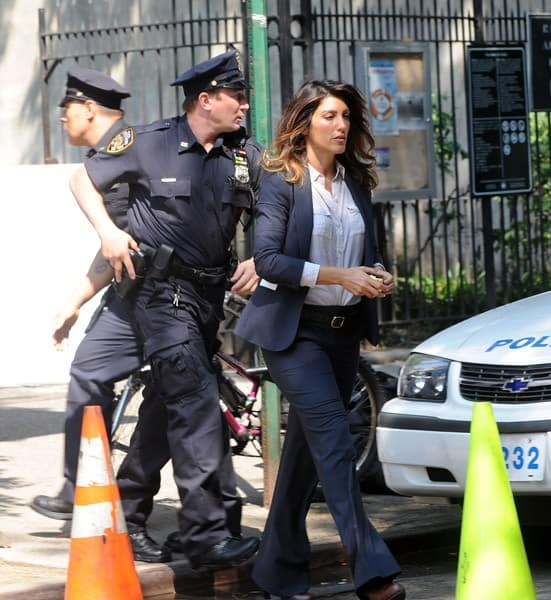 Jennifer Esposito is seen on location for 'Blue Bloods' on the streets of Manhattan on July 19, 2011 in New York City.